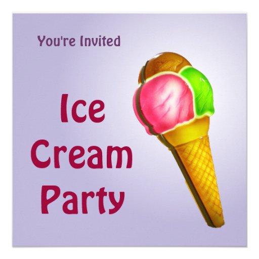 Invitación colorida del fiesta del helado