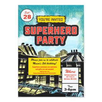Invitación cómica del fiesta del super héroe