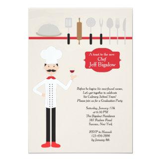 Invitación con clase de la graduación del cocinero