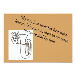 Invitación con el jugador y el texto de la tuba