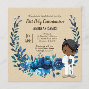 Invitación con guirnalda azul para hacer la comun