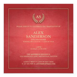 Invitación con monograma de la graduación de la
