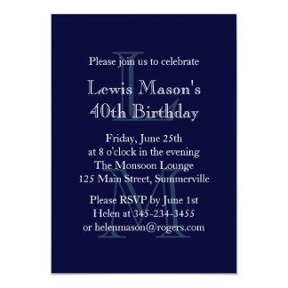 Invitación con monograma moderna del cumpleaños