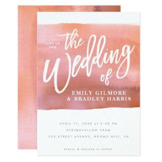 Tarjeta Invitación coralina del boda de la acuarela