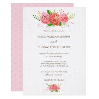 Invitación coralina del boda de la primavera