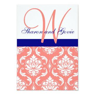 Invitación coralina del boda del monograma de la invitación 12,7 x 17,8 cm