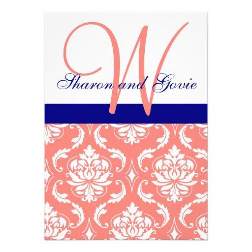 Invitación coralina del boda del monograma de la m