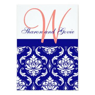 Invitación coralina del boda del monograma del