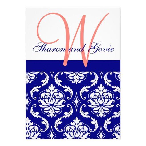 Invitación coralina del boda del monograma del dam