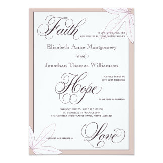 Invitación cristiana botánica púrpura del boda