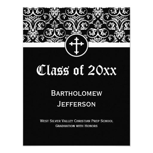 Invitación cristiana cruzada negra de la graduació