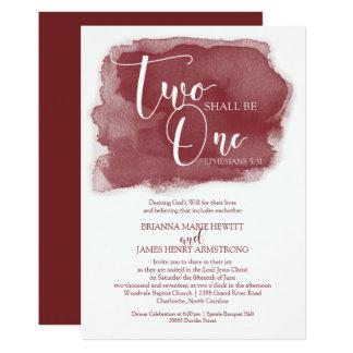 Invitación cristiana del boda - acuarela Marsala