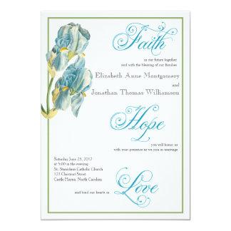 Invitación cristiana del boda de la escritura azul