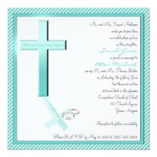 Invitación cristiana del boda del cuadrado de la