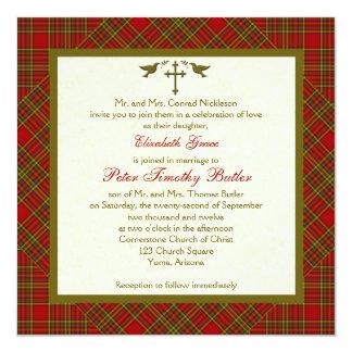 Invitación cristiana del boda del cuadrado de tela