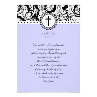 Invitación cristiana del boda del damasco púrpura