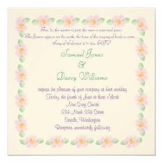 Invitación cristiana del boda - flores púrpuras