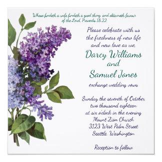 Invitación cristiana del boda - lilas del vintage