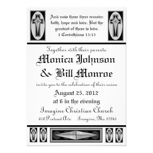 Invitación cristiana formal del boda