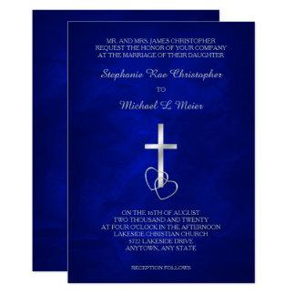 Invitación cruzada cristiana de plata azul del