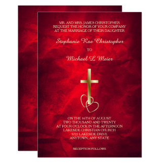 Invitación cruzada cristiana del boda del oro rojo
