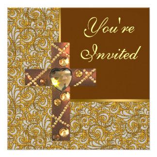 Invitación cruzada cristiana Jeweled del fiesta