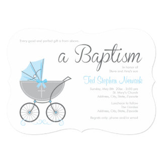 Invitación cruzada del bautismo del muchacho azul invitación 12,7 x 17,8 cm