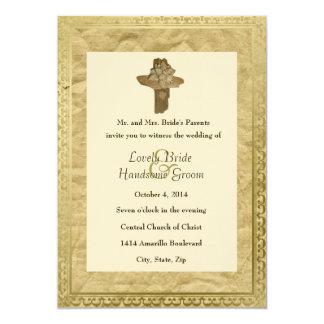 Invitación cruzada del boda del vintage del