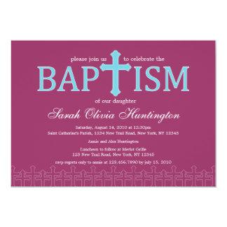 Invitación cruzada elegante del bautismo