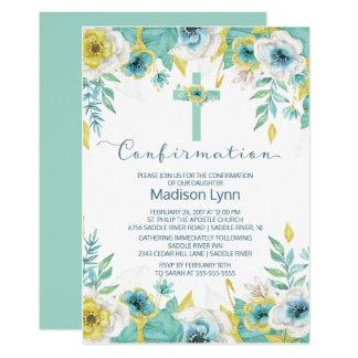 Invitación cruzada floral de la confirmación de la