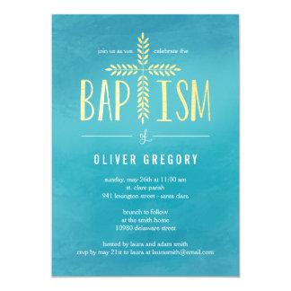 Invitación cruzada frondosa del bautismo - azul