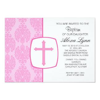 Invitación cruzada rosada del bautismo de los