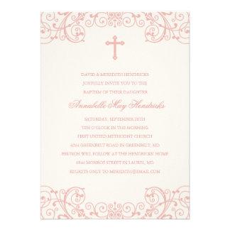Invitación cruzada rosada del bautismo del bautizo