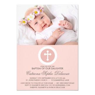 Invitación cruzada rosada y blanca de la foto del