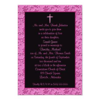 Invitación cruzada rosada y negra cristiana del