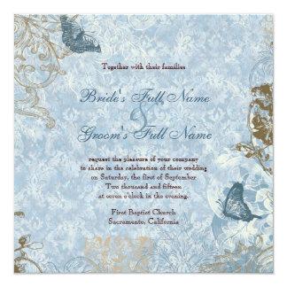 Invitación cuadrada azul del boda de Fleur di Lys