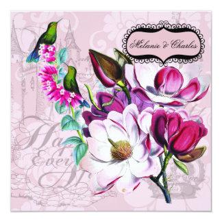 Invitación cuadrada del boda de las magnolias de