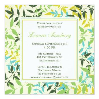 Invitación cuadrada floral de la fiesta de