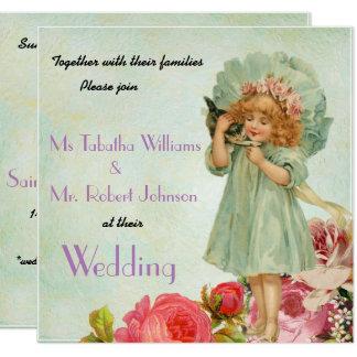 Invitación cuadrada floral del boda del vintage
