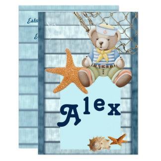 Invitación cumpleaños estilo marinero nombre Alex