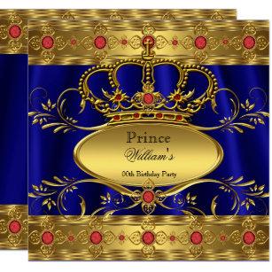 Invitación Cumpleaños Rojo Real 2 De La Corona Del Rey