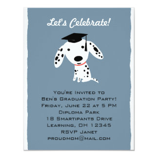 Invitación dálmata de la graduación del perrito
