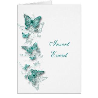 INVITACIÓN de boda blanca del compromiso del cumpl Tarjetas