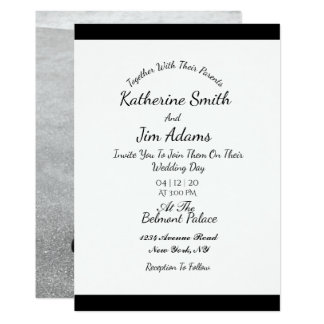 Invitación de boda blanco y negro de la foto
