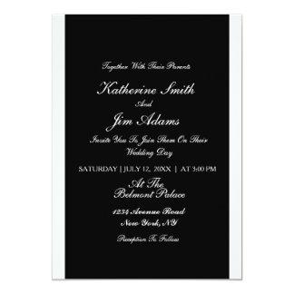 Invitación de boda blanco y negro simple