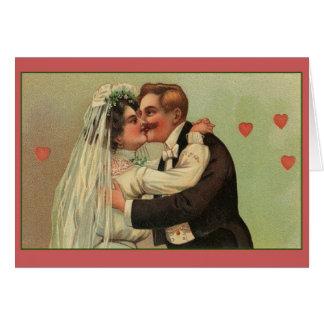 Invitación de boda del beso del boda del Victorian Tarjeta De Felicitación