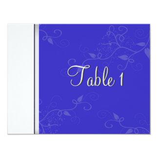 Invitación de boda del número de la tabla - azul