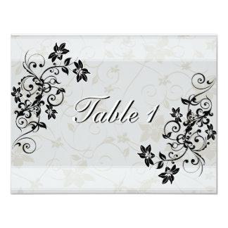 Invitación de boda del número de la tabla - negro