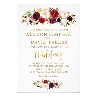 Invitación de boda elegante del oro floral de