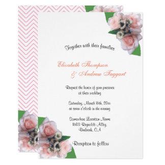 Invitación de boda elegante floral romántica de